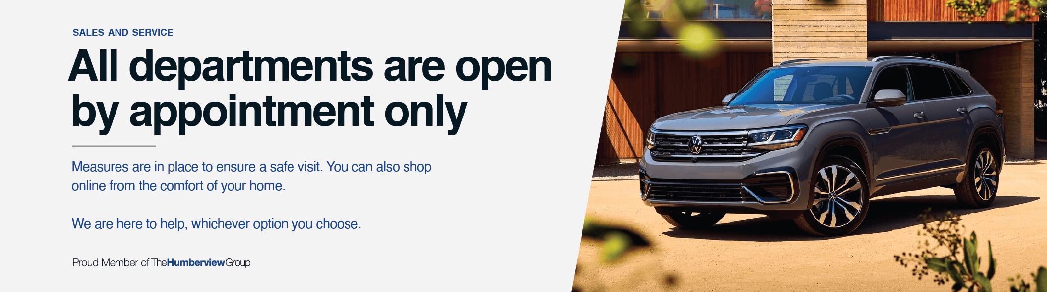 All Departments Open by Appointment Only - Volkswagen MidTown Toronto